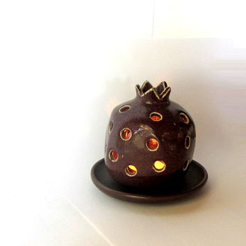 Ceramic candle holder. Pomegranate candle lantern. Brown ceramic pomegranate and a saucer. Holiday gift ideas. Vintage.