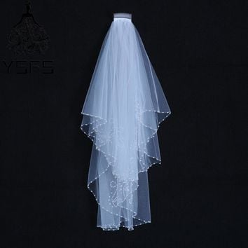 YSFS Elegant Two Layers White Ivory Short Bridal Veils Beaded Edge Bridal Wedding Veils With Comb Voile De Mariee Head Veils