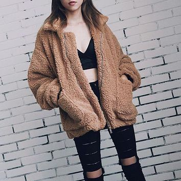 Elegant Faux Fur Coat Women 2019 Autumn Winter Warm Soft Zipper Fur Jacket Female Plush Overcoat Pocket Casual Teddy Outwear