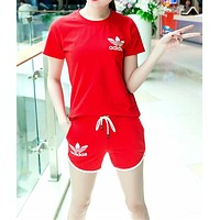"""Adidas"" Women Casual Fashion Clover Letter Print Short Sleeve Shorts Set Two-Piece Sportswear"