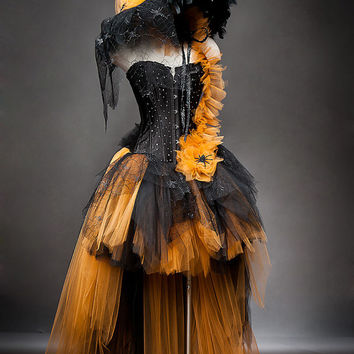 Custom Size Orange and Black Feather Burlesque Corset Witch costume with Hat available in sizes small through 6xl