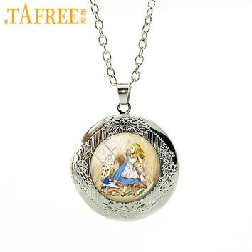 TAFREE Alice in Wonderland Necklace Vintage Cartoon Locket Pendant Read Charms Glass octopus sharks animal Photo jewelry N615
