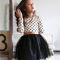 Kids Toddlers Girls Polka Dot Bow-Knot Dress