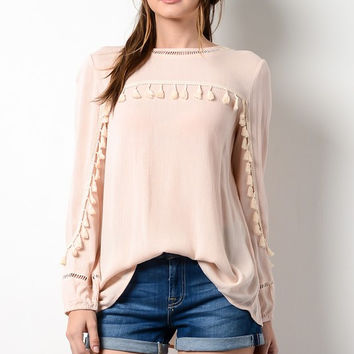 Tassel Detail Long Sleeve Top