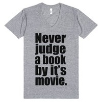 Never Judge A Book By It's Movie.-Unisex Athletic Grey T-Shirt
