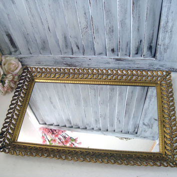 Vintage Filigree Metal Vanity Tray, Ornate Mirror Tray, Jewelry Tray, Perfume Tray, Mid Century Gold Mirror Tray