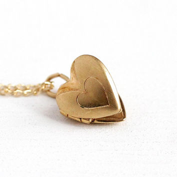 Vintage Children's Locket - 14k Rosy Yellow Gold Filled Heart Shaped Necklace Pendant - Retro 1960s Petite Dainty Child's Girl's Jewelry
