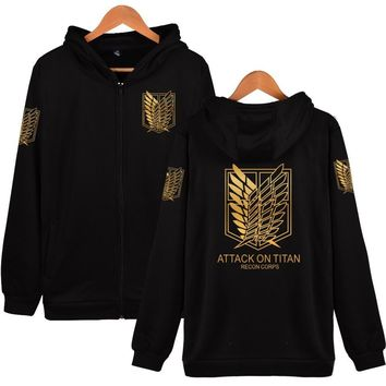 New Arrival 2017 Attack On Titan Zipper Hoodies Brand Clothing Hip Hop Hooded Sweatshirt Casual Loose Unisex Hoodie 5 Colors