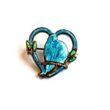 Vintage Guilloche Enamel Love Bird Pin - Blue Bird Broach - Heart Brooch - Victorian Style - Art Noveau Style