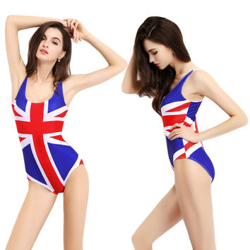 Red Union Jack Print Scoop Neck Beach Bikini Bathing Suit Swimwear