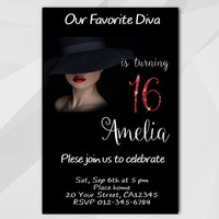 16th Birthday invitation, Diva Birthday Invitation, 13th 18th 21st 30th 40th, Chalkboard Custom Birthday etsy invite A006-5