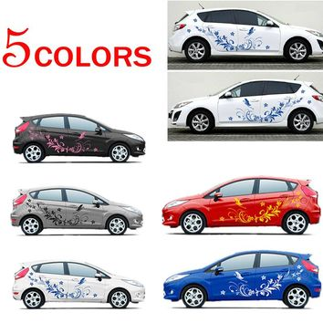 Car Modifield Decal Vinyl Sticker Waterproof Natural Flower Vine Dragonfly Decoration Stickers Auto Styling for Whole Car Body