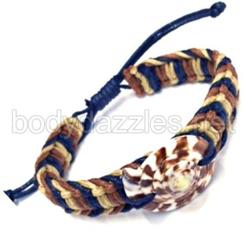 Dark Brown Round Shell Rope Pull String Adjustable Bracelet One Size Fits Most