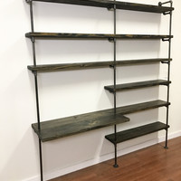 Pipe shelving unit with desk