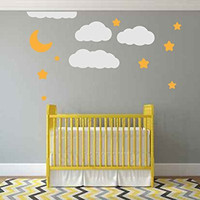 Moon Stars and Clouds Silhouette Vinyl Wall Decal Sticker Graphic