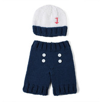 Feitong Newborn Infant Crochet Knit Beanie Hat Costume Clothing Pography Props baby handmade Hat and pants Set