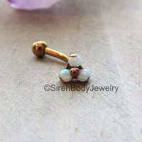 Rook piercing jewelry vertical labret curved barbell rose gold titanium daith bar opal threaded end eyebrow piercing ring body jewelry bars