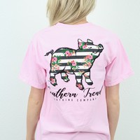 Floral Stripe Proud Pig Short Sleeve Tee {Blossom}