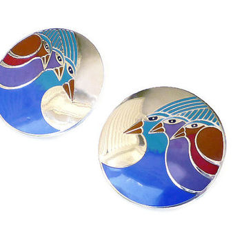 Laurel Burch Earrings Celestial Birds Enamel Silver Vintage Jewelry