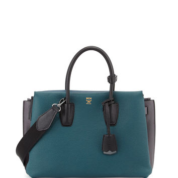 Milla Colorblock Tote Bag, Vega Green - MCM