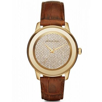 Michael Kors Women's Kinley Brown Leather Glitz Gold Tone Watch Mk2455