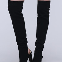 Black Peep Toe Stretch Heeled Over The Knee Boots