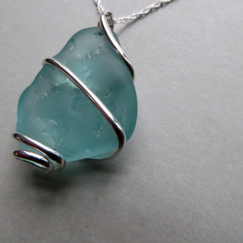 Sea Glass Necklace Sterling Silver Wirewrapped