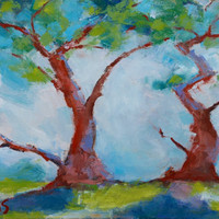 TWISTED CYPRESS, CARMEL - 8 x 12 - Trees - Tree - Original Painting - Cottage - Wall Hanging - Landscape - Monterey - Art - Blue - Green