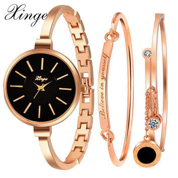 Xinge Brand Luxury Famous Women Bracelet Watch Jewelry Watch Set Wristwatch Women Crystal Gemstone Stone Quartz Watches