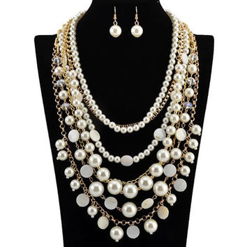 Multilayer Fake Pearls Necklace and Earrings