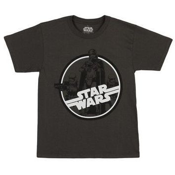 Star Wars Force Awakens Circle Troopers Licensed Kid's Youth T-Shirt - Gray - S