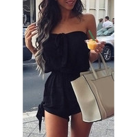 BLACK Bowknot Rompers