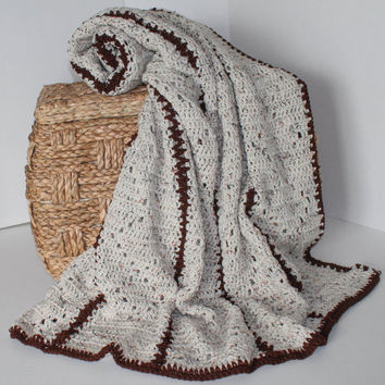 Afghan - Handmade Crochet Blanket - Queen Size Afghan - Cream Speckle and Chocolate Brown