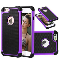 iPhone 6s Plus Case [5.5 Inch] Akimoom [Jade Series] PC+Silicone Trendy Defender Nonslip Scratch Resistant Dust-proof Heavy Duty 2-Layer Hard Protective Case for iPhone 6 Plus/6s Plus(Black/Purple)