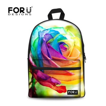 FORUDESIGNS 3D Flower Print Kids School Bags For Girls Teenage Floral Student Schoolbag Casual Canvas Children Book Bag Mochila