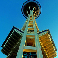 Under the Space Needle Photograph, Printable Wall Art, Digital Image, Instant Download