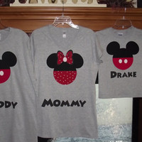 Minnie Mickey Mouse - Disney Birthday Family Custom T-Shirt Personalized Applique Head Tee Shirt Top Family