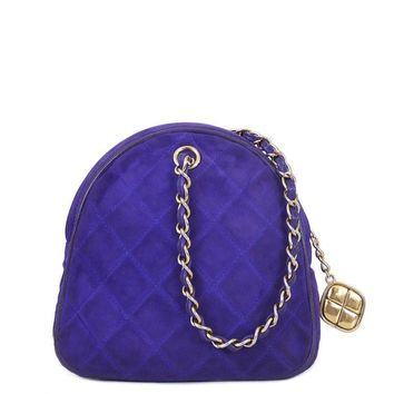 Vintage Chanel Purple Suede Evening Bag, Wristlet