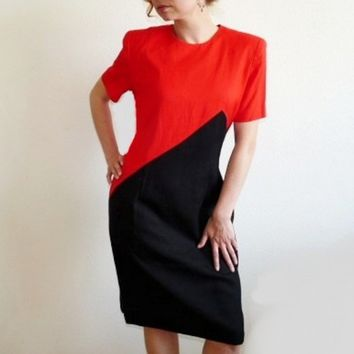 Vintage 80s Dress Linen Red and Black Wiggle Dress Graphic Steven Stolman Dress Medium