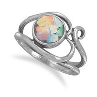 Ancient Roman Glass Ring with Heart Design