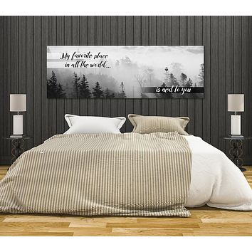 My Favorite Place In All The World Is Next To You Canvas Framed Wall Art For Couples