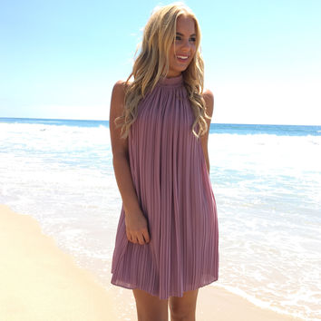 Elegant Pleats Dress In Plum
