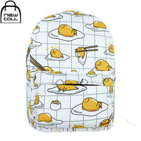 [NEWTALL]2016 New  Kawaii Cartoon Gudetama Cute Fried Eggs Funny White Backpack School ShoulderBags Free Shipping 16072612