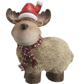 """17.25"""" Whimsical Reindeer with Nordic Style Scarf and Santa Hat Christmas Table Top Decoration"""