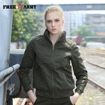Slim Fit Jackets Military Women Autumn Stand Collar Jackets And Coats Zipper Camouflage Bomber Jackets Women