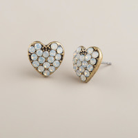 Silver and Opal Heart Stud Earrings - World Market