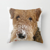 Snow Dog Throw Pillow, Airedale Terrier, Photo Pillow Case, Cute Pillowcase, Winter Decoration, Nursery Decor, Ecofriendly, 16X16 pillow