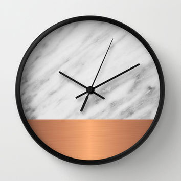 Carrara Italian Marble Holiday Rose Gold Edition Wall Clock by cafelab