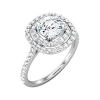 3/4 cttw Diamond Engagement Ring Setting with double halo in 14K White Gold