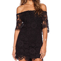 Nightcap Caribbean Crochet Off Shoulder Dress in Black